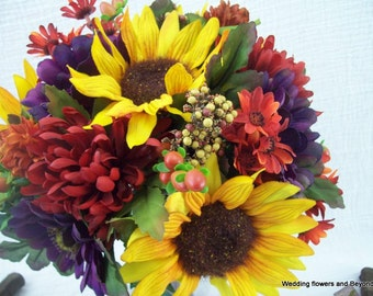Fall Wedding Flowers Sunflower Bouquets and Boutonnieres 8 piece Silk Flower Package Made To Order