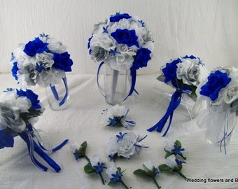 Royal Blue Silver and White Bridal Boquets Silk Rose Wedding Package Roses 14 pieces made to order Brides on a Budget WeDDiNG BouQuets
