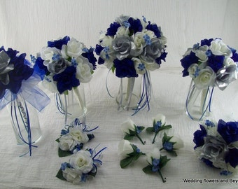 Ivory Royal Blue and Silver Bridal Bouquets Boutonnieres Rose WeDDiNG PaCKage made to order 12 Pieces Brides on a Budget WeDDiNG BouQuets