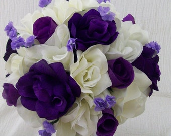 Purple Ivory and Black Wedding Flowers Bridal Bouquet Rose Bouquet Corsages and Boutonnieres 11 Pieces Made To Order