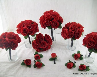 red and black wedding flowers rose bridal bouquet silk wedding package brides maid bouquets red rose