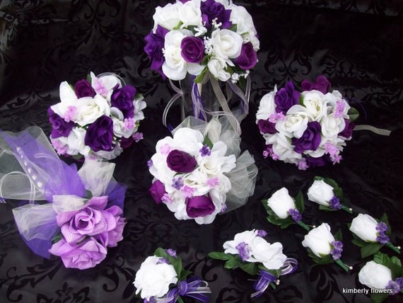 CUSTOM 12 pieces made to order Brides on a Budget  Flower Package WeDDiNG BouQuets PuRPLe and IVoRY RoSeS
