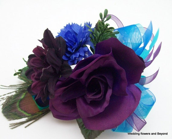 PRoM / WeDDiNG PuRPLe BLue aND aQua PeaCoCK WeDDiNG FLoWeRS CoRSaGe aND BouToNNieRe SeT CuSToM MaDe To oRDeR