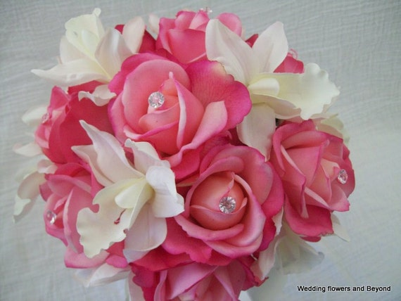Pink Wedding Bouquets Real Touch Pink Roses Cymbidium Orchids Destination Beach Wedding Flowers Pink Real Touch Boutonnieres and Corsages