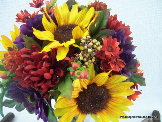 Fall Wedding Flowers Sunflower Bouquets And Boutonnieres 8