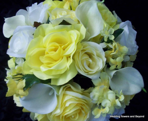 2 Piece Bridal Bouquet and Grooms Boutonniere Flower Package Calla Lily aND Rose Yellow and Light ivory Wedding Flowers
