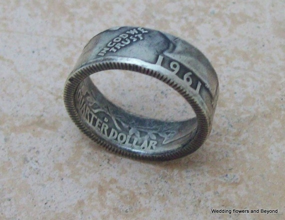 MoTHeRS DaY GiFT Silver Coin Ring 1961 Washington Quarter 90% Fine Silver Jewlery Size 6 1/4