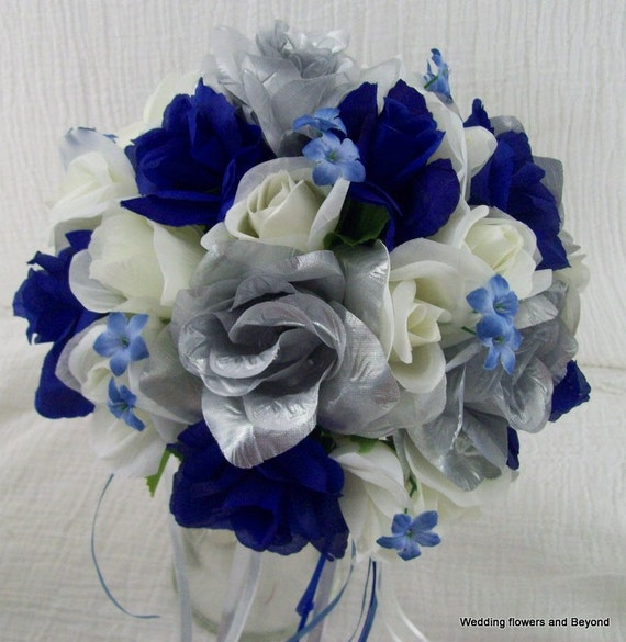 Royal Blue And Ivory Wedding Bouquets : Ivory royal blue and silver bridal bouquets by