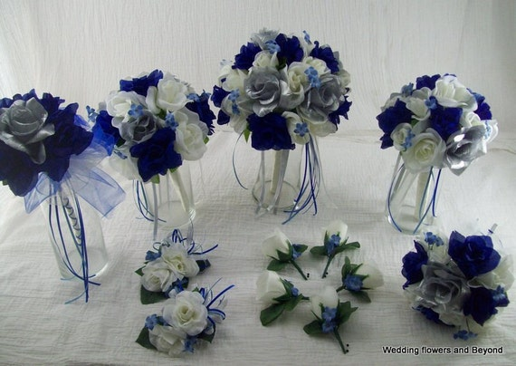 Royal Blue And Ivory Wedding Bouquets : Ivory royal blue and silver bridal bouquets boutonnieres rose