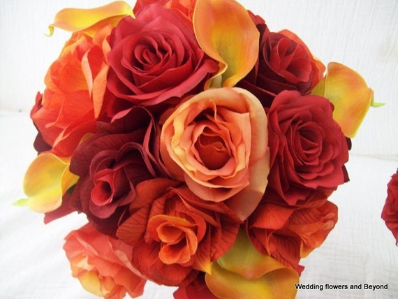 """CuSToM oRDeR FoR """"IBALEK"""" 50% DePoSiT 11 PieCe BRiDaL BouQueTS and BouToNNieRes FLoWeR PaCKaGe ReaL TouCH CaLLa LiLY aND RoSe oRaNGe aND ReD"""