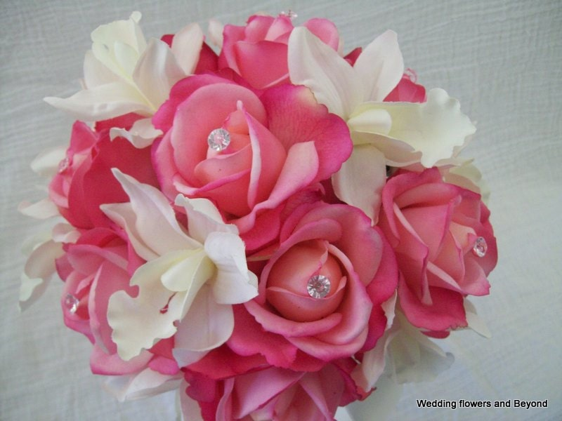 Pink Wedding Bouquets Real Touch Roses Cymbidium Orchids