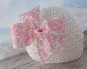 Elegant Pink Damask Bow