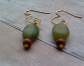 Gold Plated Agate and Gold stone Earrings