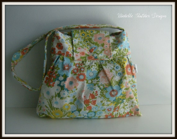 Sale vintage waverly pastel floral fabric pleated bag for Pastel galaxy fabric
