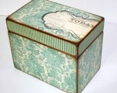 Recipe Box, Teal and Brown Damask Box, 4x6 Recipe Box, Teal Damask Box, Handmade 4 x 6 Wood Recipe Box, Journal Box, Wedding Guest Book Box