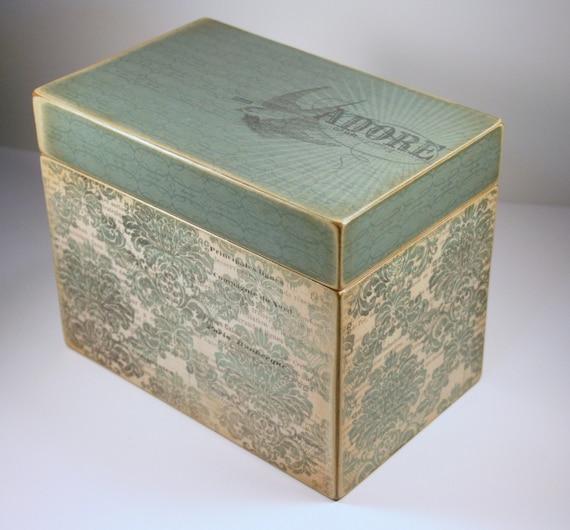 Recipe Box - LAST ONE - Custom Vintage Style French Print Handmade 4x6 Wooden Recipe Box Address File