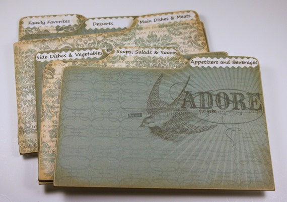Divider Cards of Formica Set of 6 Vintage Style French Print Recipe Divider Cards