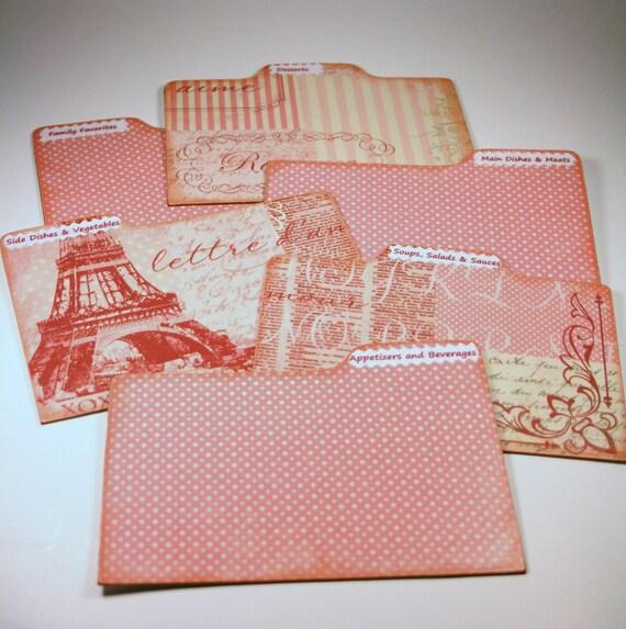 Divider Cards of Formica Set of 6 Custom Paris Pink French 4x6 Recipe Address Divider Cards
