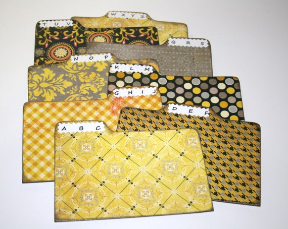 Divider Cards of Formica - Set of 8 Yellow Gray and Black 4x6 Address Divider Cards