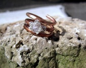 Copper and Moonstone Wire Wrapped Ring