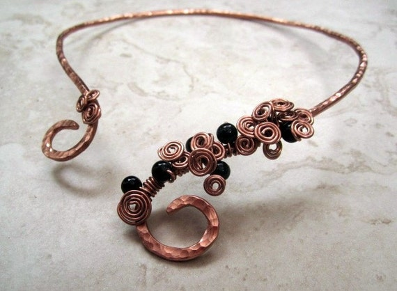 Copper Scrolled Torc with Black Riverstone