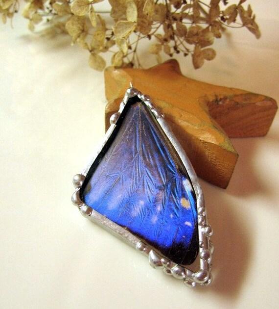 Butterfly Jewelry, Pendant, Morpho Zephyritis, Real Butterfly Wing