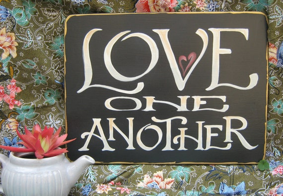 Scripture Wall Art Home Decor : Love one another scripture sign wall art home decor