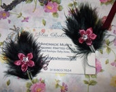 Black Feather Snap Fascinator For Children or Baby or Pets with Pink Flower with Crystal