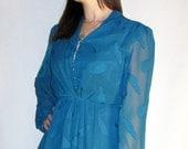 vintage turquoise blue secretary full skirt dress - small