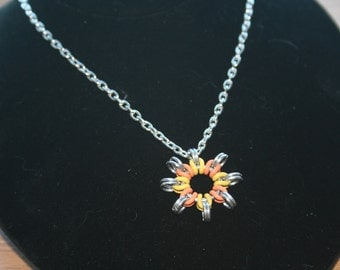 Sunburst Chainmaille Pendant with Chain