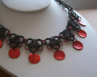 Black and Red Gothic Lace Chainmaille Necklace with Red Shell accents