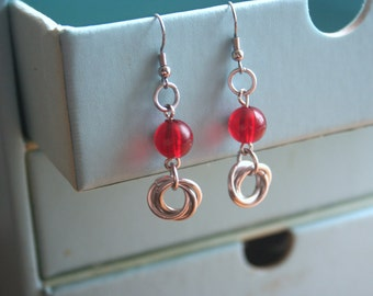 Mobius Ball or Love Knot Earrings with Red Glass Accents