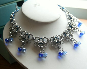 Necklace Gothic Lace Chainmaille Silver-tone With Glass Accents