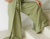 Ladies Pale Green Sensual String Tie Capri Pants (Wrap Pants) ... Loose And Comfy ... (Free Size - Fits ALL)
