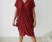 Ladies Blouse Comfy Top Or Dress,Deep Red Tunic V Neck,Unique Styling .