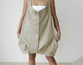 Tank Top Cute Smocked Pockets, Blouse in Natural Tan Cotton.