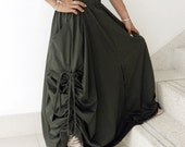 Ladies Convertible Pant Or Skirt, Long and Comfy Green Cotton Jersey. From Thaisaket.