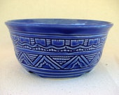 Bright Blue Hand Carved Pottery Planter - 1282