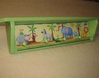 Kid's corner coat rack ( Jungle Animals with shelf )