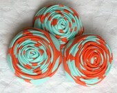 Rosettes in aqua and tangerine shabby chic   3 pieces
