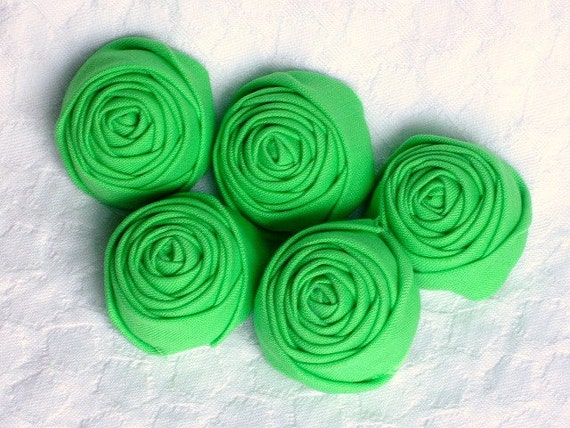 Green fabric flower rosettes sour apple  5 pieces