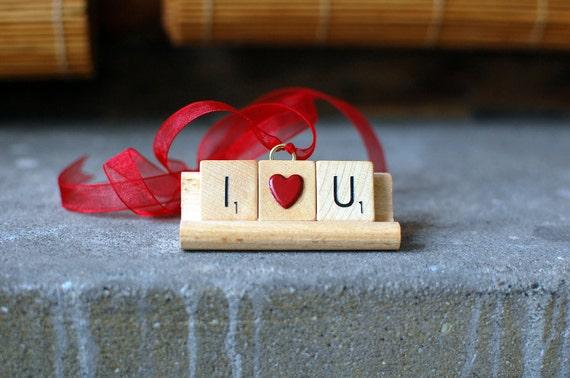 I LOVE YOU Christmas Ornament - Handmade Christmas Tree Ornament made with Scrabble Tiles