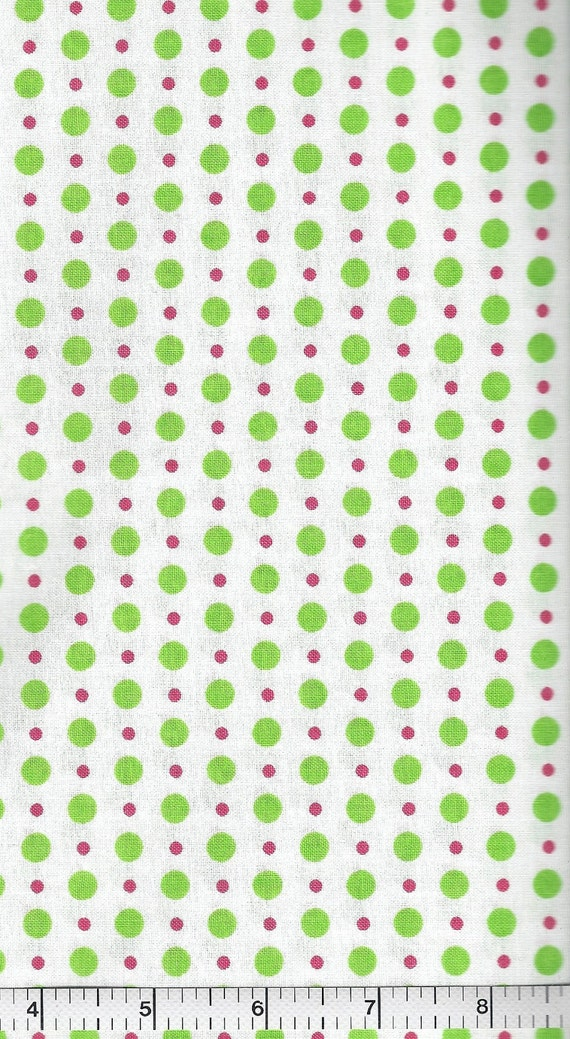 End of Bolt, Strawberry Lemonade, Moda Fabric, Green and Pink Polka Dots, Me & My Sister Designs, 2 yards and 12""