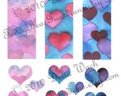 Bookmarks and Hearts - Digital Elements of Collage Sheet - Printable PDF