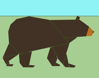Black Bear paper-piecing quilt pattern, PDF