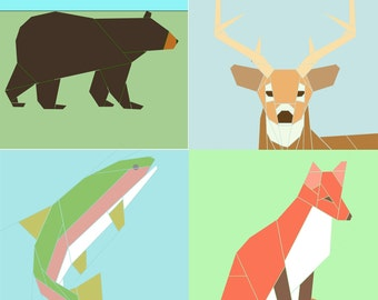 Set of 4 Wildlife paper-piecing patterns, PDF