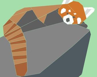 Red Panda w/Rock  paper-piecing quilt pattern, PDF