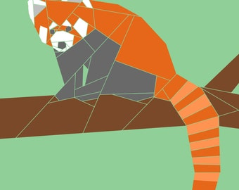Red Panda w/Branch  paper-piecing quilt pattern, PDF