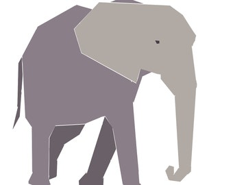 African Elephant paper-piecing quilt pattern, PDF