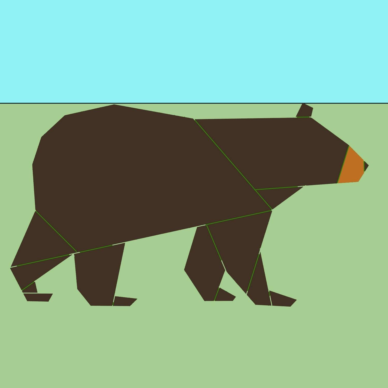 Black Bear paper-piecing quilt pattern PDF